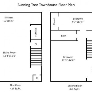 Burning Tree 2 Bedroom Townhouse Floor Plan