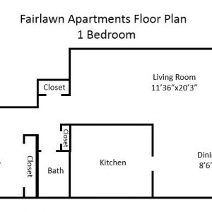 Fairlawn Garden 1BR Apartment Floorplan