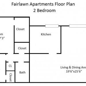Fairlawn Garden 2BR Apartment Floorplan
