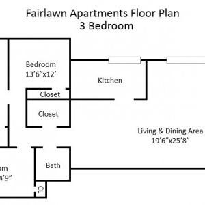 Fairlawn Garden 3BR Apartment Floorplan