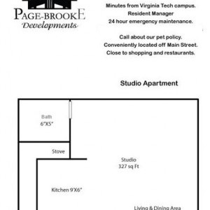 Studio Apt floorplan; 327 sqft